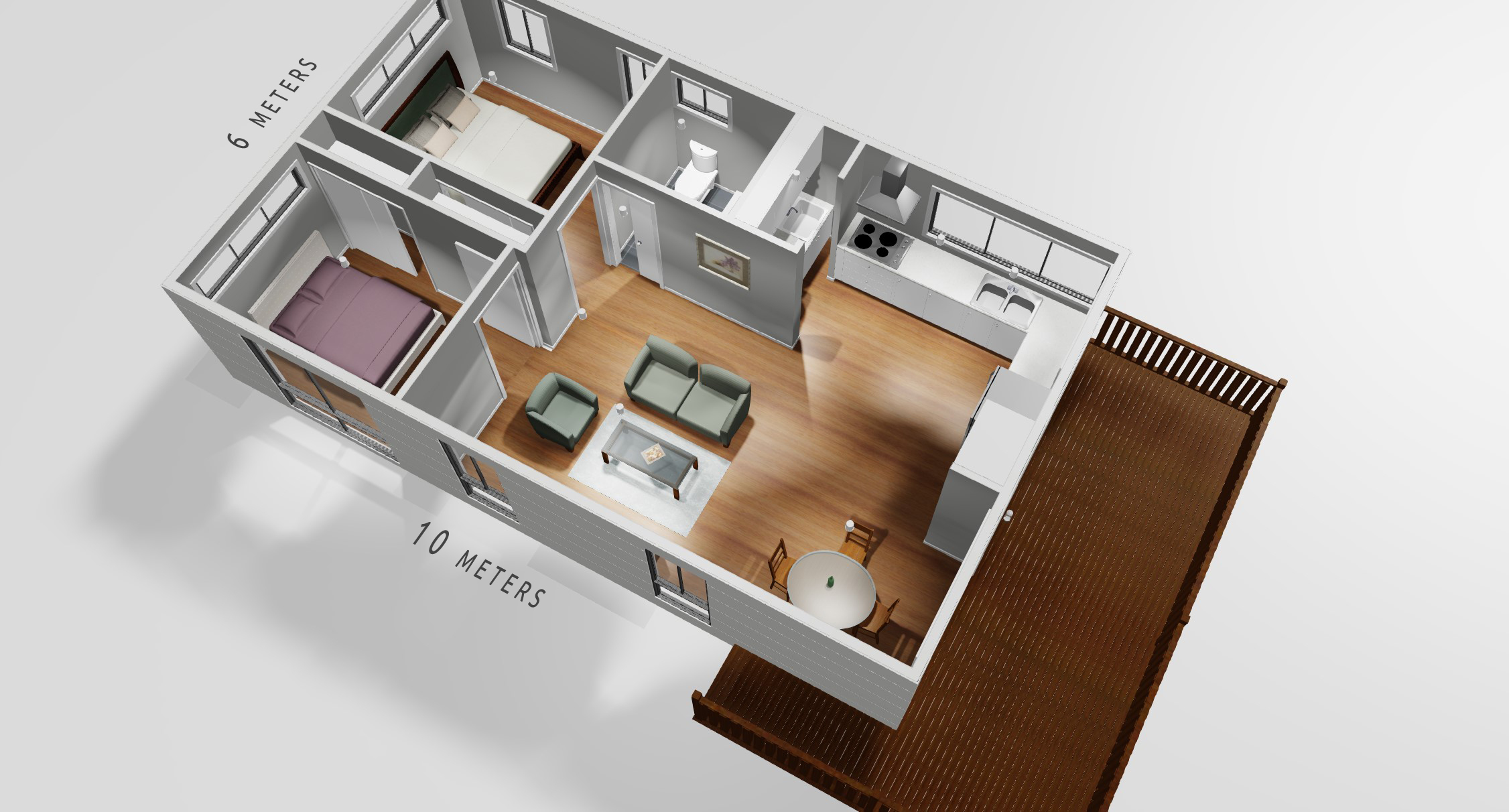 Plateau Homes - Granny Flat Floor Plan - Artist Impression
